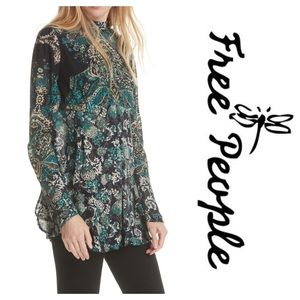6d5dc945627 Free People Tops | New Fp Lady Luck Printed Bell Sleeve Tunic Top ...